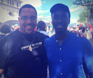 A former Newburgh Free Academy student, now a teacher in NYC, poses with former student John Muigai Dartomouth '07