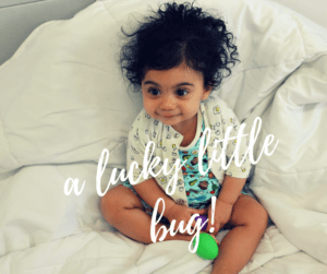 Adorable baby in Lucky Bug made in the Hudson Valley baby clothes