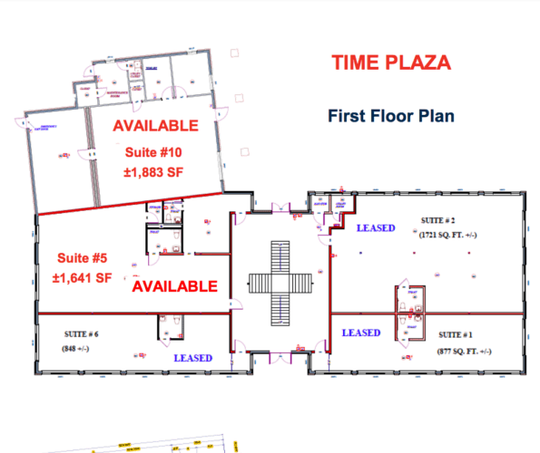 Time Plaza first floor floor plan, Newburgh, N.Y. for lease