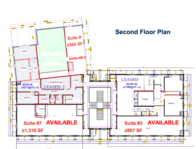 Floor plan second floor Time Office Plaza, Newburgh, N.Y. For Lease