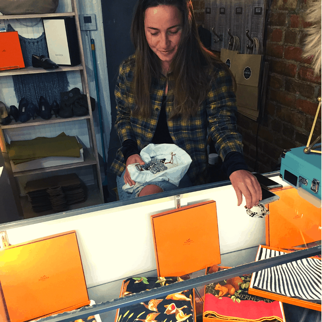 Cream Vintage Newburgh Consignment Shop Manager, Annie McCurdy