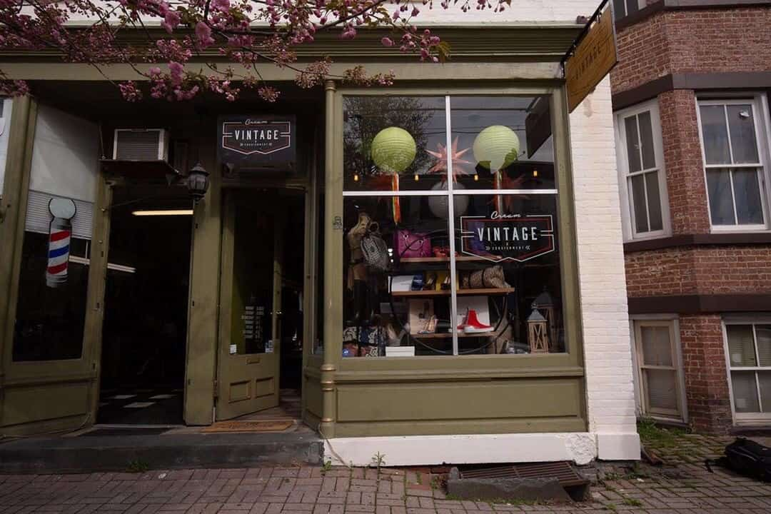 Exterior picture of Cream Vintage a trendy consignment shop on Liberty Street in Newburgh,N.Y.