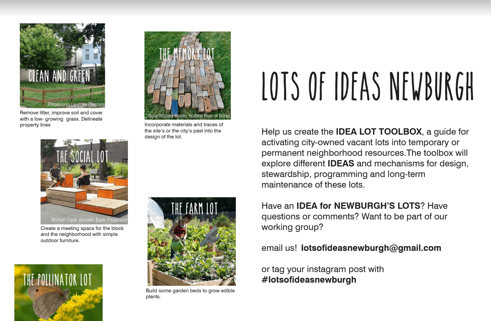 Flyer for the Hudson Valley Initiative's Lots of Ideas.