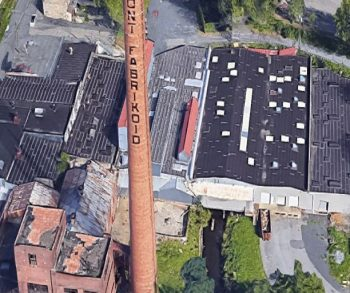 Aerial view of the 86,000 Sq. Ft. Industrial space for lease at 220 Dupont Ave Newburgh, N.Y.
