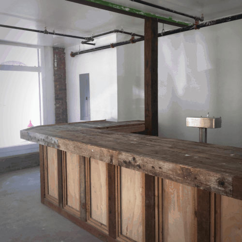 Rough hewn bar at 2 Liberty Street Newburgh, N.Y. A mixed use property