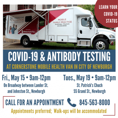 Covid-19 testing at Cornerstone Healthy inNewburgh MOBILE UNIT! May 15 and May 19