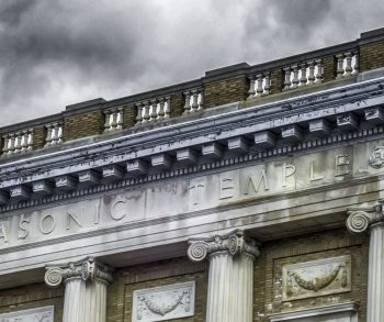 A view of the frieze of the Masonic Temple on Grand Street in Newburgh, N.Y. part of the parcel sold to FSH hotelier group